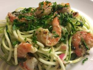 zuchinni pasta with shrimp